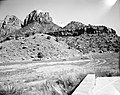 Exhibit material- scenic view, Oak Creek Canyon from patio of Visitor Center. ; ZION Museum and Archives Image ZION 8802 ; ZION (fe06378428494fc6b3553c7118c7f0a7).jpg