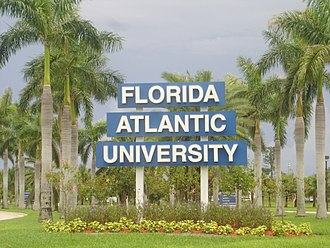 Florida Atlantic University - The NW 20th Street entrance sign, Boca Raton campus