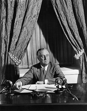 Fireside chats - President Franklin D. Roosevelt delivered his first fireside chat, on the banking crisis, eight days after taking office (March 12, 1933)