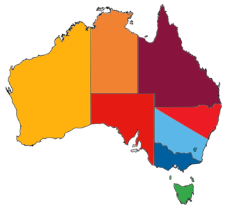 Australian soccer league system - A diagram showing the nine member federations of FFA, which each control their respective state-based competitions.