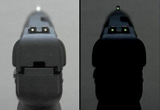 Iron sights - Tritium-illuminated handgun night sights on a FN Five-seven