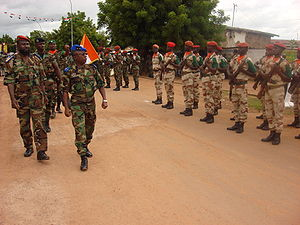 Armed Forces of the Republic of Ivory Coast -  General Soumaila Bakayoko, Chief of staff of the Army, conducts a passing review of his troops in Odienné