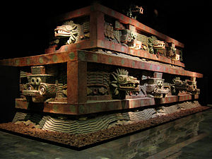 Teotihuacan - Restored portion of Teotihucan architecture showing the typical Mesoamerican use of red paint complemented on gold and jade decoration upon marble and granite.