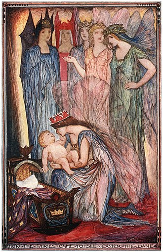"Avalon - How the Fairies Came to See Ogier the Dane by Henry Justice Ford (1921)   ""And then the sixth fairy, the youngest and the most beautiful of all, who was none other than Morgan le Fay, the Queen of Avalon, caught up the child, and danced about the room in rapturous joy."""