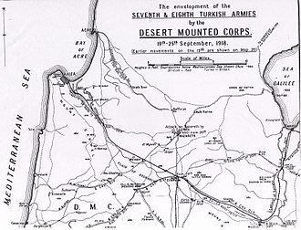 Battle of Haifa (1918) - Falls Map 21 Cavalry advances 19 to 25 September. Detail shows capture of Haifa and Acre
