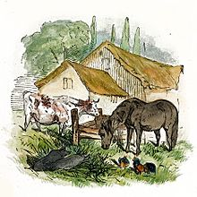 Watercolor drawing of farmyard with cow, horse, pigs, and chickens
