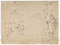 Figure Studies (recto); Figures Along a Canal and on a Bridge; to the right, a Curtain and a Stool (?) (verso) MET DP810105.jpg