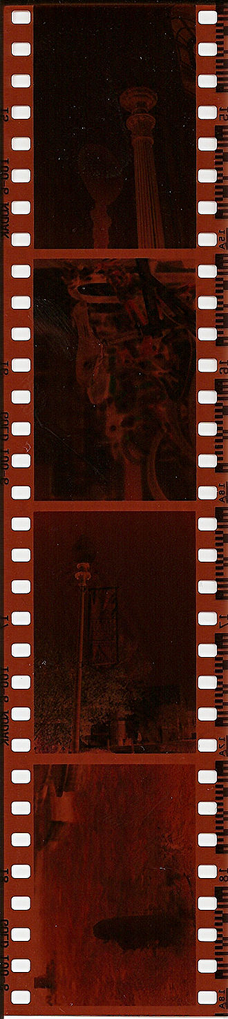 Negative (photography) - A strip of four color negatives on 35 mm film