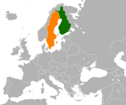 Map indicating locations of Finland and Sweden