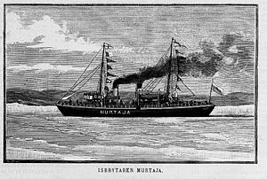 Murtaja (1890 icebreaker) - Drawing of Murtaja published in the Finnish newspaper Land och Stad on 16 April 1890, two weeks after she arrived to Finland.