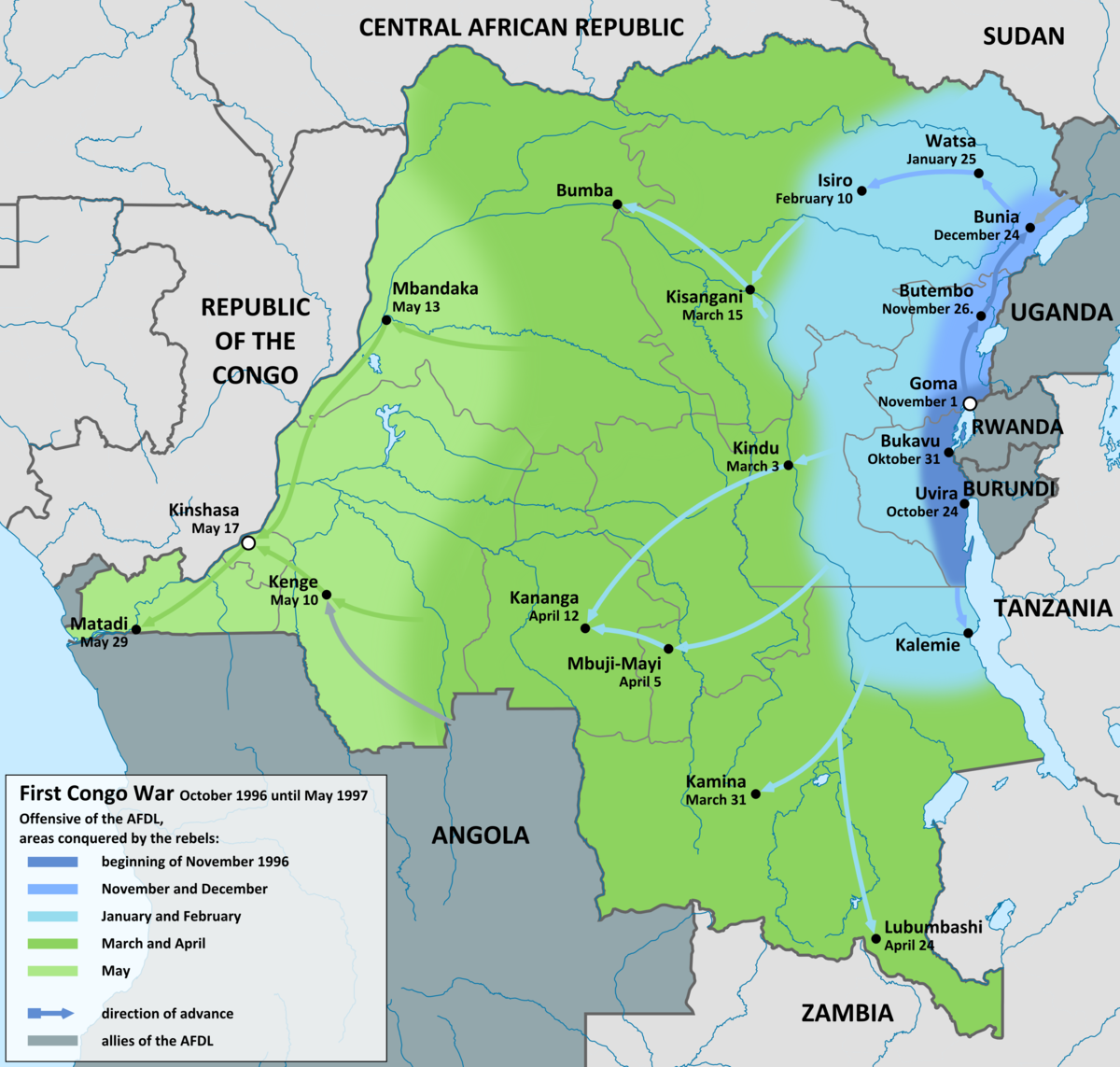 First Congo War Wikipedia - Map of us at start of civil war