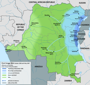 First Congo War - Image: First Congo War map en