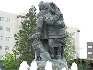 Fairbanks, Alaska - First Family Statue near Visitor Center, Fairbanks, Alaska.