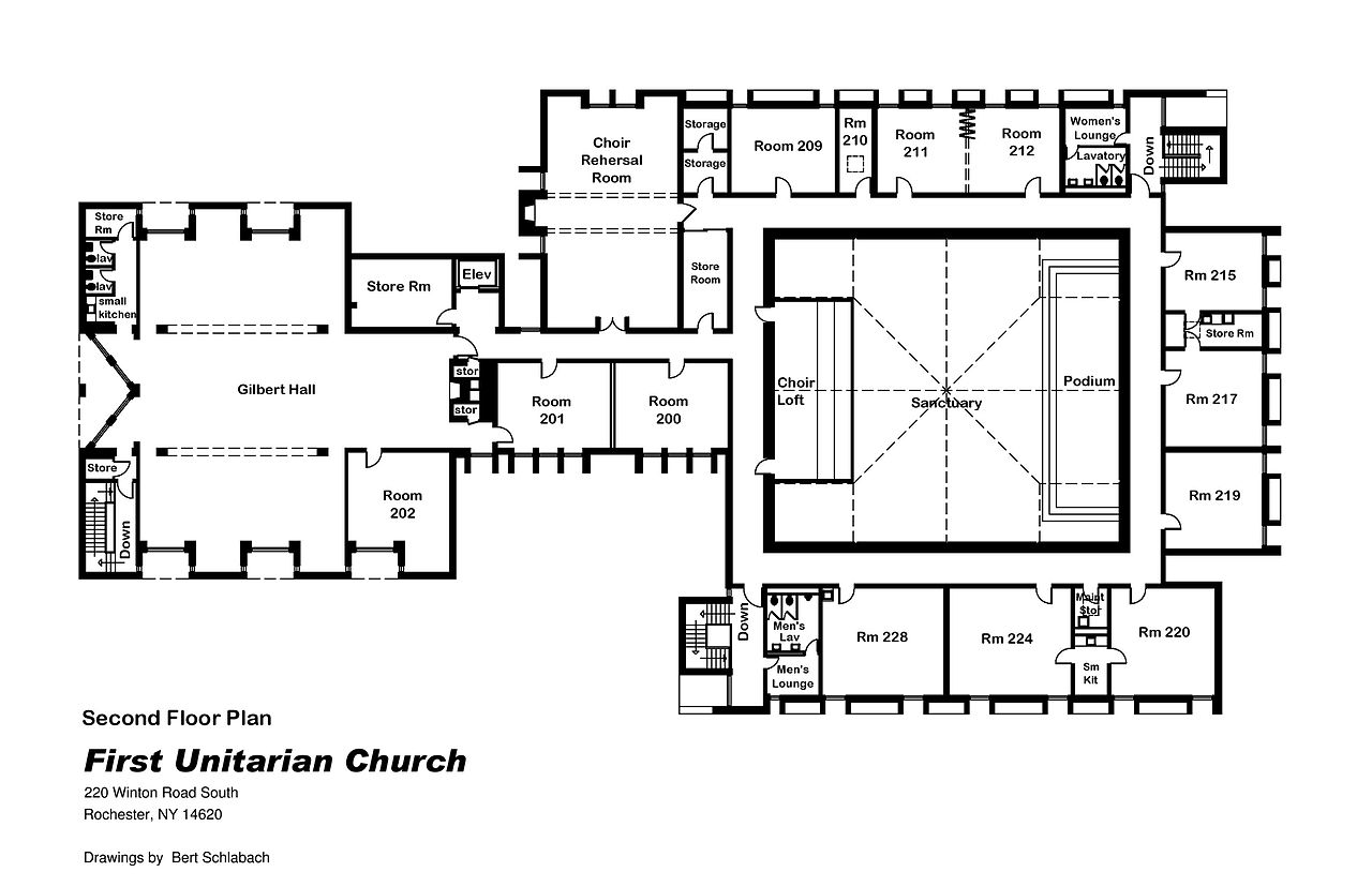 File first unitarian church of rochester ny 2nd floor for Floor plan church