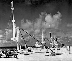 Operation Fishbowl - Array of sounding rockets with instruments for making scientific measurements of high-altitude nuclear tests during liftoff preparations on Johnston Island