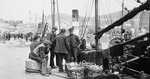Downings - Fishermen on the pier at Downings, Co. Donegal. Around 1910