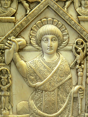 Byzantine Senate - Consul Anastasius, from his consular diptych, 517 AD. He holds a consular sceptre topped by an eagle and the mappa, a piece of cloth that was thrown to signify the start of the Hippodrome races that marked the beginning of a consulship