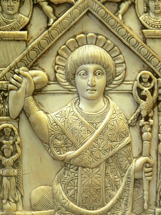 Roman consul - Flavius Anastasius (consul of the Eastern Roman Empire for 517 AD) in consular garb, holding a sceptre and the mappa, a piece of cloth used to signal the start of chariot races at the Hippodrome. Ivory panel from his consular diptych.