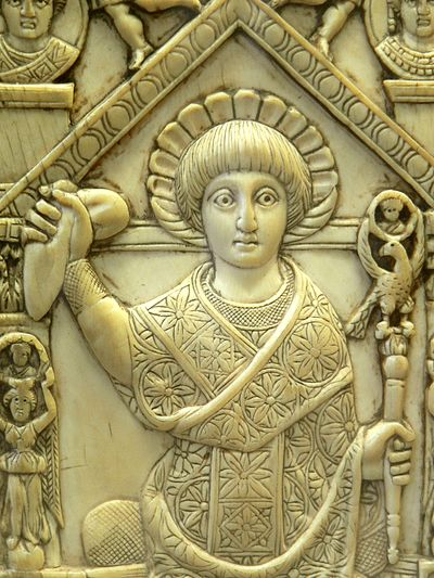 Flavius Anastasius (consul of the Eastern Roman Empire for AD 517) in consular garb, holding a sceptre and the mappa, a piece of cloth used to signal the start of chariot races at the Hippodrome. Ivory panel from his consular diptych. Flavius Anastasius Probus 01b.JPG