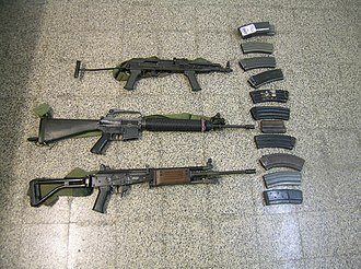 IMI Galil - Comparison of the Hungarian AMD-65 (top), the American M16A1 (middle) and the Israeli Galil ARM (bottom)