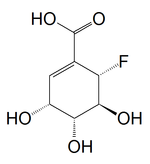 Chemical structure of (6S)-6-fluoroshikimic acid