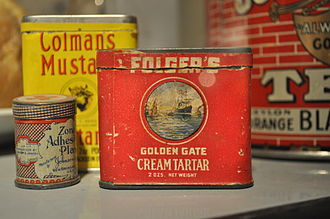 Potassium bitartrate - Folger's Golden Gate Cream Tartar, first half of 20th century