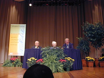 Institute Professors Emeriti and Nobel Laureates (from left to right) Franco Modigliani (deceased), Paul Samuelson (also deceased), and Robert Solow (picture taken in 2000) Ford-MIT Nobel Laureate Lecture Series 2000-09-18.jpg