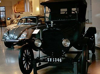 History of the automobile - The Ford Model T (foreground) and Volkswagen Beetle (background) are among the most mass-produced car models in history.