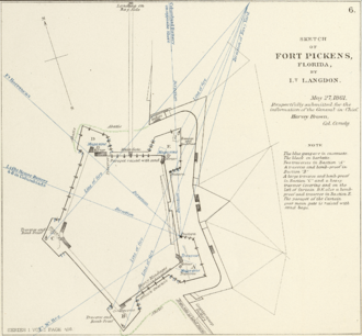 Fort Pickens - Sketch of Fort Pickens, Florida, by Lt. Langdon, 1861.