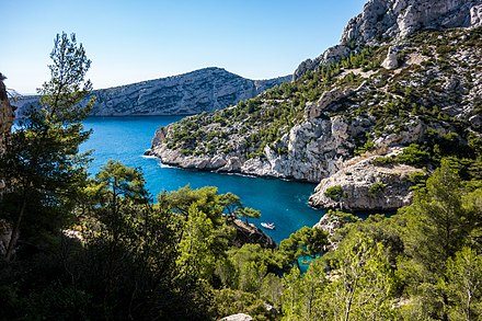Calanques National Park in Bouches-du-Rhone is one of the best known protected areas of France. France - Marseille (29878897633).jpg