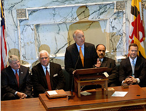 Peter Franchot - Franchot's Inauguration, January, 2007(seated l-r: House Speaker Mike Busch, Senate President Mike Miller, Baltimore City Delegation Chairman Curt Anderson and Governor Martin O'Malley)