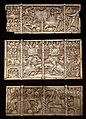Francia, forse lorena, tre pannelli in avorio da una cassetta, con scene di amore cortese, 1330-50 ca.jpg