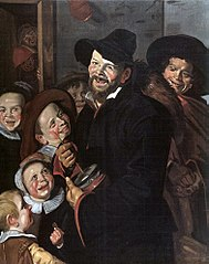 Rommelpot Player with Six Children