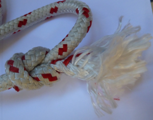 Whipping knot - Unsecured end of double braid rope.