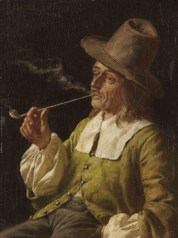Fritz Wagner Landsknecht beim Rauchen