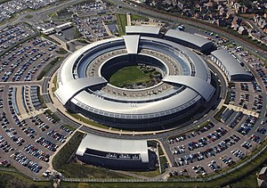 "Government Communications Headquarters - ""The Doughnut"", the headquarters of the GCHQ."