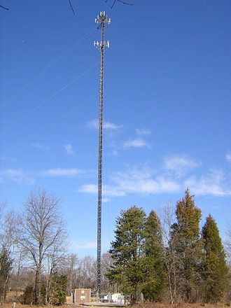 Base station - A cell tower near Thicketty, South Carolina.