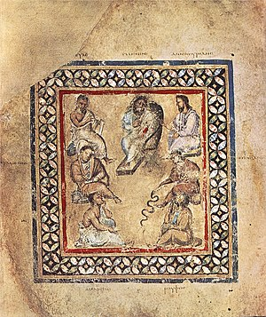 Antonine Plague - A group of physicians in an image from the Vienna Dioscurides, named after the physician Galen shown at the top center.