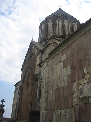 History of Nagorno-Karabakh - Closeup of church inside the complex of Gandzasar monastery, 13th century.