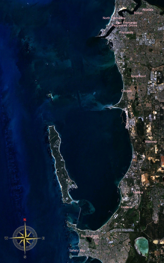 Cockburn Sound - Cockburn Sound and Garden Island from space.  Image generated by NASA World Wind