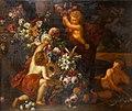 Gaspar Peeter Verbruggen (II) and Matheus Terwesten - A still life of a garland of flowers with putti.jpg