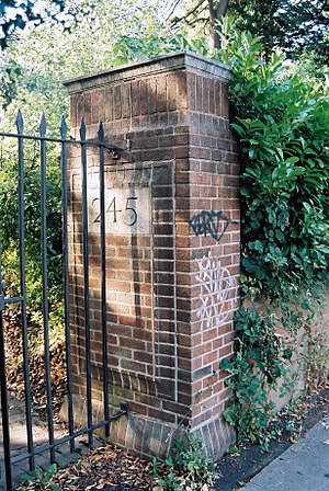 William Haywood (architect) - Gate Piers to 245 Bristol Road, the entrance to Haywood's own home.