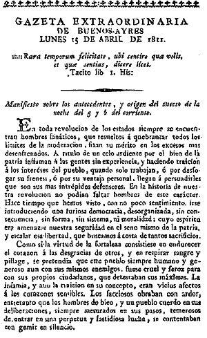 Gregorio Funes - Communiqué authored by Dean Funes in defense of the Junta, printed in the Gazeta de Buenos Ayres