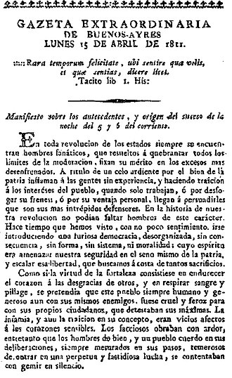 Gregorio Funes - Communiqué authored by Dean Funes in defense of the Junta, printed in the Gazeta de Buenos Ayres