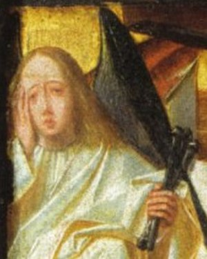Man of Sorrows (Geertgen tot Sint Jans) - Detail with angel overcome by grief