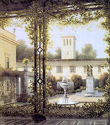 Der Gartenhof in Glienicke. Gemälde von August C. Haun nach Wilhelm Schirmer (Quelle: Wikimedia)