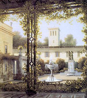 Princess Marie of Saxe-Weimar-Eisenach (1808–1877) - The garden courtyard in Glienicke, painting by August C. Haun after Wilhelm Schirmer, 1837