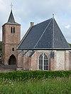 foto van Hervormde Kerk. Koor van de gotische dorpskerk. Eenbeukig gepleisterd bouwwerk met driezijdige sluiting, gerestaureerd omstreeks 1964 na zware oorlogsschade
