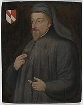 A man dressed in grey with a beard, holding a rosary, depicted next to a coat of arms.