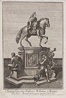 Statue des Großen Kurfürsten in Berlin (Kupferstich von Georg Paul Busch, vor 1756) (Quelle: Wikimedia)